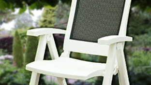 Plastic, synthetic wicker or polywood garden furniture