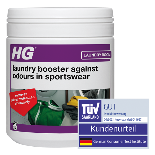 HG detergent additive against unpleasant odours in sports clothing